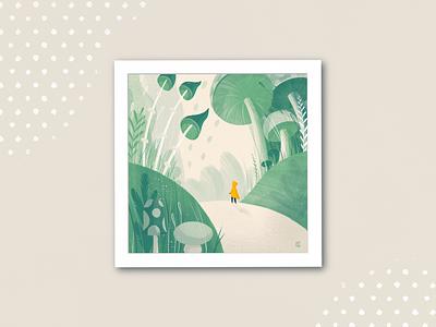 Garden of Wonderful Discoveries journey character kid child dream sweet fabulous fairytale mushrooms forest cute childhood procreate illustration