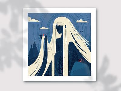 Mountain goddess concept art journey sky nature shack lady goddess mountain digital illustration illustration