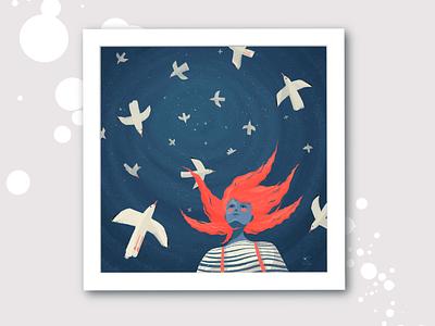 Sea mood procreate journey adventure wind sky sea girl seagull digital illustration illustration