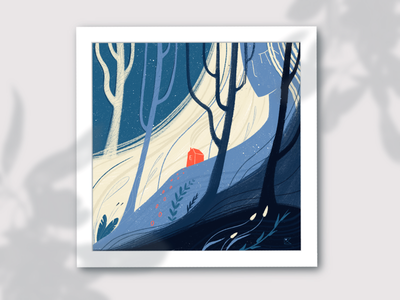 Deep in the woods procreate adventure journey lady house wood forest plants tree digital illustration illustration