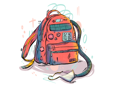 Back to school journey texture artwork color art flat flat illustration procreate colorful illustration flat art digital art sticker school backpack cyberpunk