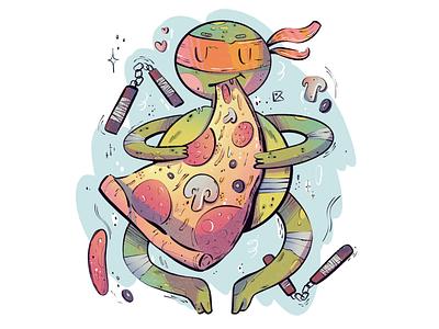 Hungry Mickey sticker cute pizza warrior ninja turtle tmnt character journey flat illustration texture flat artwork color art procreate illustration