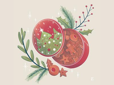 Cookie tin retro holiday card holidays christmas cookie tin cookie plants flat illustration texture flat artwork color art procreate illustration