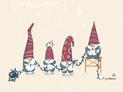 Little helpers cute art garland christmas card christmas gnome character flat illustration texture flat artwork color art procreate illustration