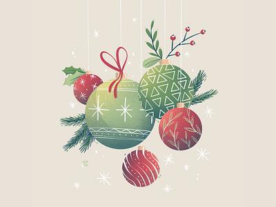 Christmas decorations christmas balls balls holiday card holidays christmas decorations christmas card christmas plants flat illustration texture flat artwork color art procreate illustration