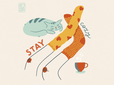 C - cozy wellbeing cozy cat coffee tea cup socks thestyleclassillustration flat art procreate illustration