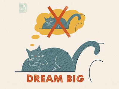 D - dream dream big sleep dream chair cat thestyleclassillustration flat color procreate illustration