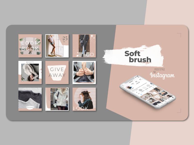Instagram feed style tempalte social media design social media presentation photoshop flat graphic design instagram bundle instagram