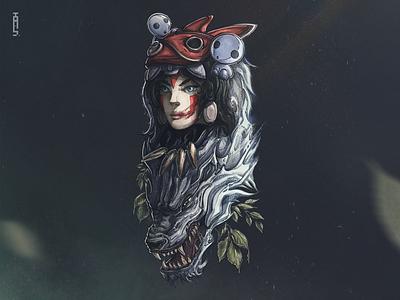 Princess Mononoke portrait creature animal ghost mask princess wolf nature flat 2d anime mononoke character design illustration