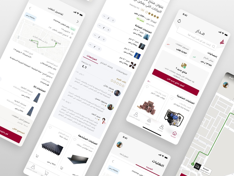 Building Materials E-commerce profile arabic reviews navigation map page matrial building experience red add product setup company shopping courier retail ecommerce ux ui