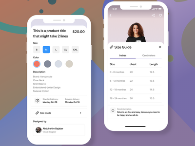 Product Details / Size Guide back like actions details product price designer color chest inch chart guide size information experience design ux ui
