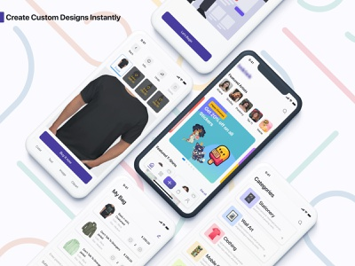 Print Your Own Design information vector illustration app user t-shirt design experience artwork digital embroidery printing customize custom design 2d uiux ux ui