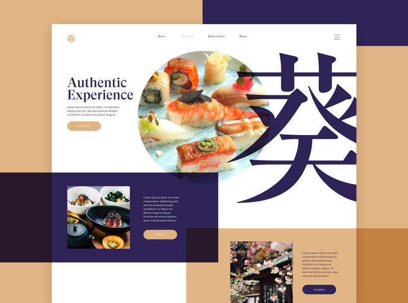 Japanese Restaurant Home Page color graphic ux branding restaurant landing page japanese food sushi website typography ui design