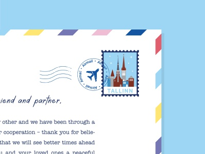 Tallinn Postage Stamp 2/2 airmail retro city illustration estonia tallinn christmas mail stamp postage letter