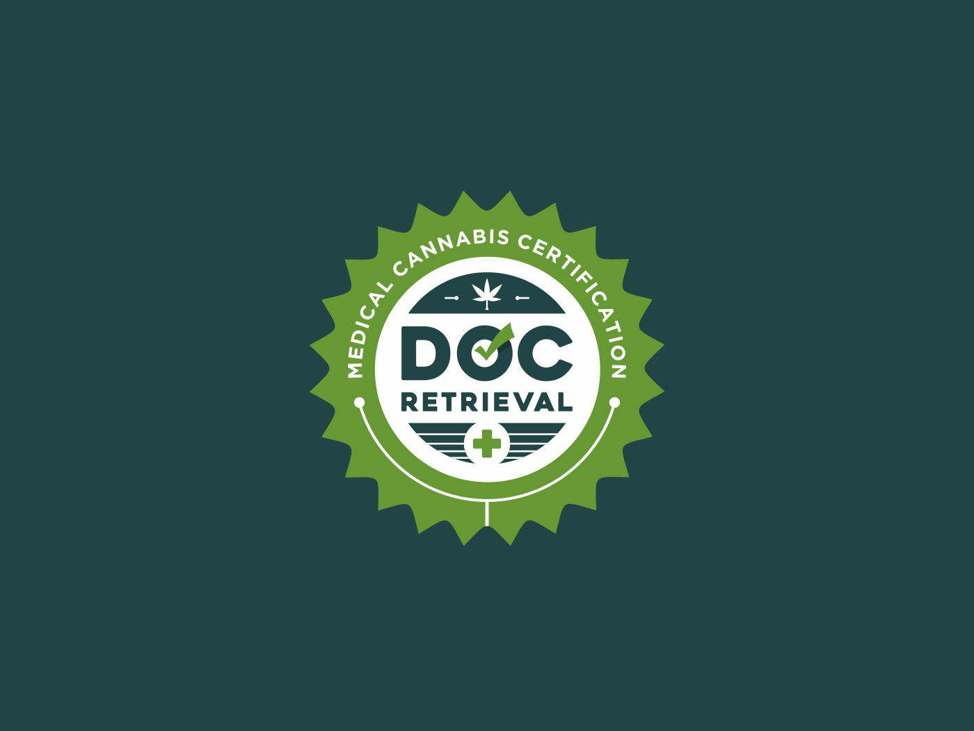 Doc Retrieval Logo vector design logo a day medical health services emblem logo certification logo cannabis