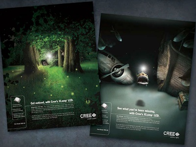 CREE LED Lighting Ads image retouch design art direction advertising