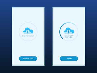 Drag & Drop Upload Concept cancel size uplaod feeback informative files drop drag cards