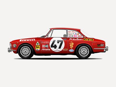 Alfa Romeo 2000 GTV Illustration italian car retro design vintage vector sketchapp sketch alfaromeo illustration car