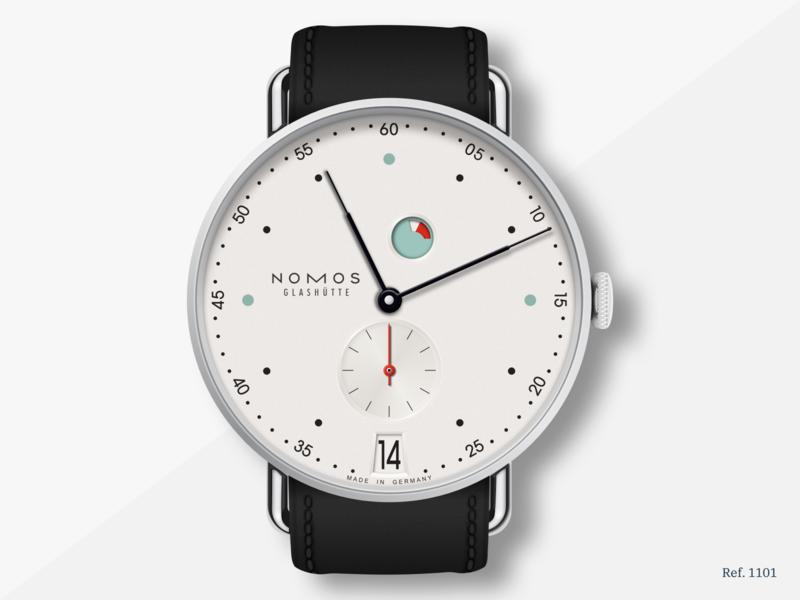 Nomos Metro Date Power Reserve (Ref. 1101) vector illustration vector sketch sketchapp watch nomos