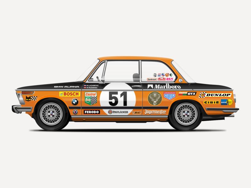 BMW 2002 Illustration german car retro vintage car vector illustration bmw sketchapp sketch