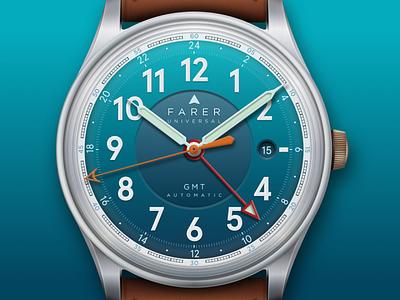Farer Universal Lander III GMT Watch watch sketchapp sketch illustration vector