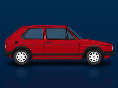 Volkswagen Golf Mk I GTI golf illustration vector sketchapp sketch vw volkswagen
