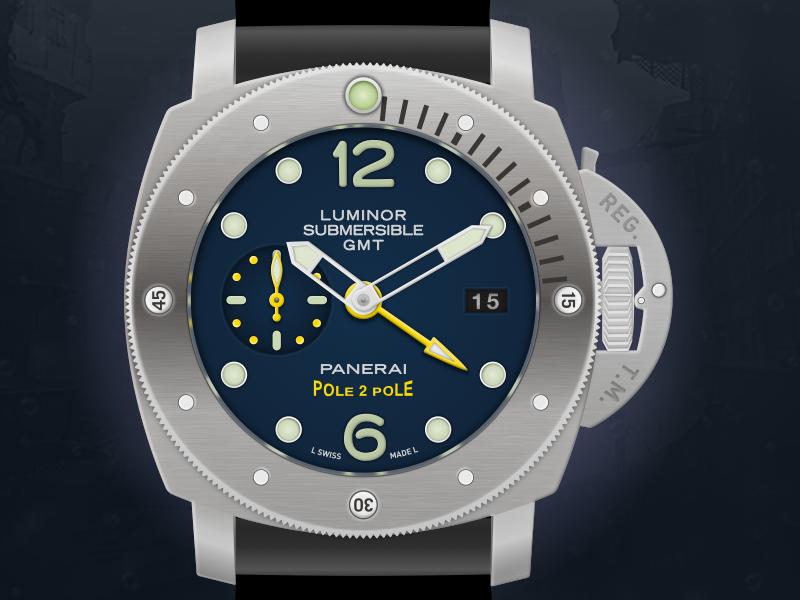 Panerai Luminor Submersible 1950 GMT Watch Icon icon panerai luminor automatic swiss made watch panerai illustration vector sketchapp sketch