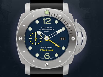 Panerai Luminor Submersible 1950 GMT Watch Icon icon panerai luminor automatic swiss made watch panerai illustration vector sketchapp sketch