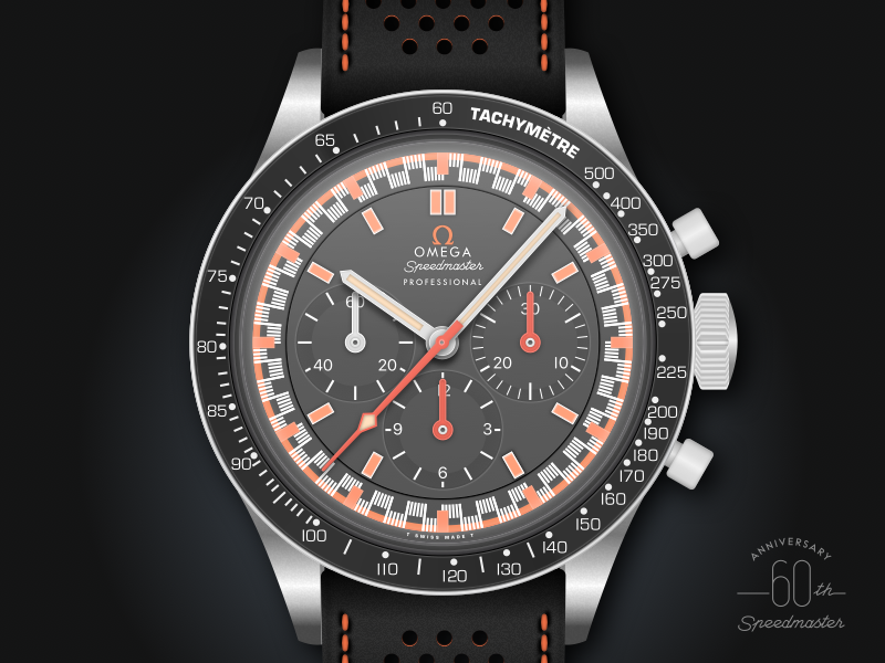 1968 omega speedmaster racing dial watch illustration by