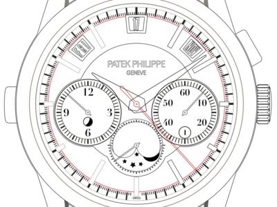 Work In Progress Patek Philippe 5208P illustration icon patek philippe watch vector sketch sketchapp