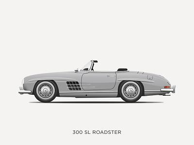 Mercedes-Benz 300 SL Roadster Illustration vintage vector sketchapp sketch illustration icon 300sl mercedes-benz mercedes design classic car car