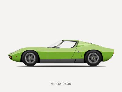 Lamborghini Miura P400 Illustration vintage vector sketchapp sketch p400 miura lamborghini illustration icon design classic car car