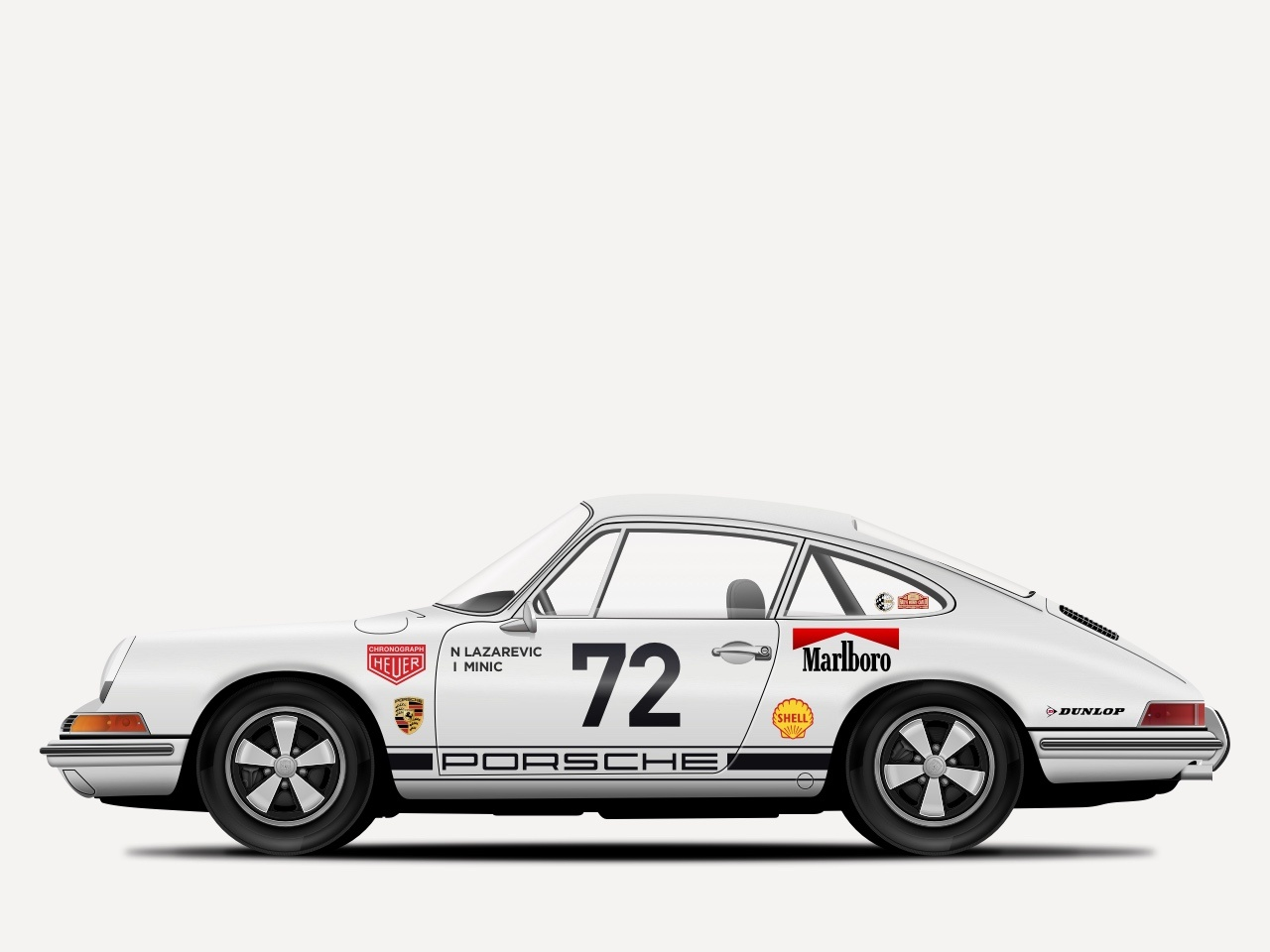 1969 Porsche 911 R Illustration design porsche 911 porsche classic car car retro vintage sketchapp sketch illustration vector