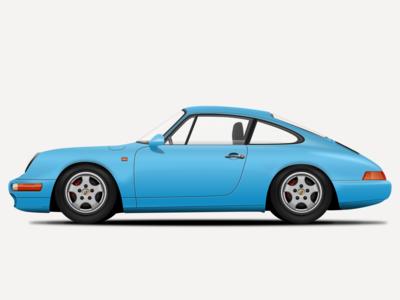 1995 Porsche 993 Illustration super car car porsche 993 porsche icon design sketchapp sketch illustration vector