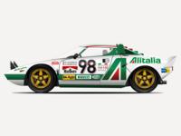1974 Lancia Stratos HF Stradale Vector Illustration