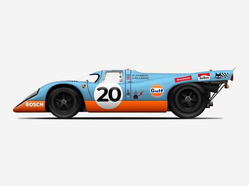 Porsche 917 Illustration racecar car porsche vintage sketchapp sketch illustration vector