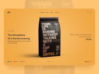 CC Craft Coffee product design product coffee bag orange color typography logo vector branding website web ux ui design minimal coffee