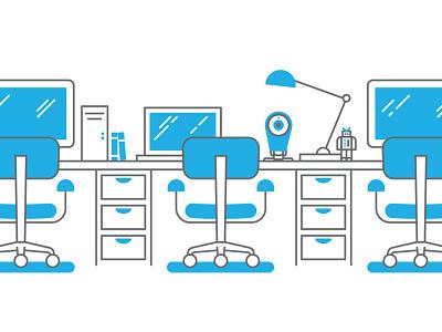 Dropcam — Jobs illustration line art office desk chair work illustrator blue white outline line work simple