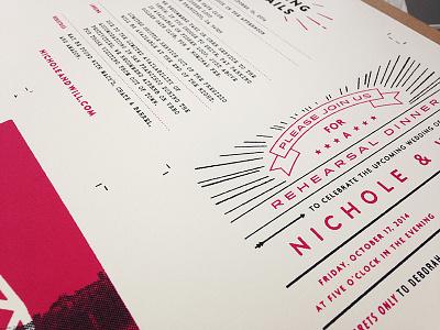 Wedding Invites Printed screenprint screenprinting vintage typography wedding invite wedding invite suite invite design graphic design red black