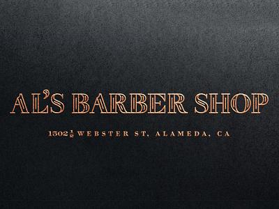 Al's Barber Shop logotype barber typography custom vector gold engraving vintage classic outline inline