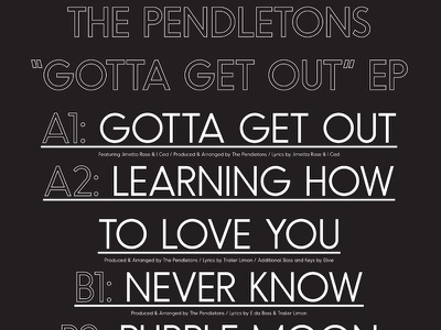 Pendletons — Gotta Get Out EP (Back) black and white odudo type track listing vinyl album art typography
