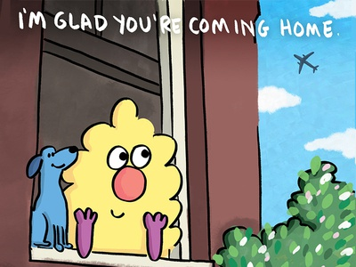 I'm glad you're coming home. cute cartoons illustration ferbils dog plane travel
