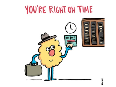 You're right on time. illustration cartoon work time ferbils clock