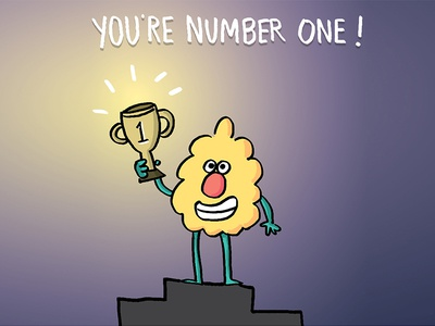 You're number one! cartoon illustration ferbils champion winner award trophy