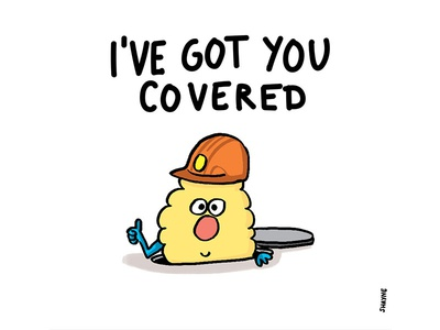 I've got you covered friendship cute illustration cartoon ferbils manhole construction