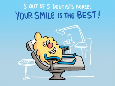 Dentists Agree: Your Smile is the Best! cartoon illustration cute ferbils smile teeth dentist