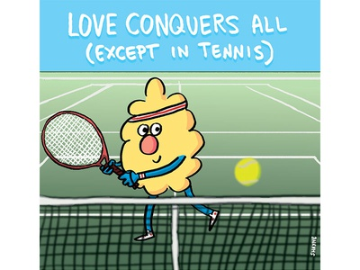 Love conquers all (except in tennis) illustration cartoon cute ferbils sports tennis