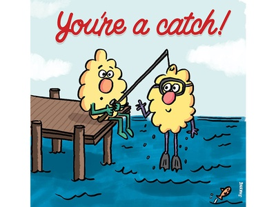 You're a catch! ferbils illustration cartoon scuba pier dock fishing