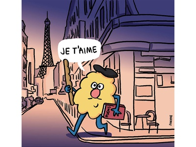 Je t'aime ferbils illustration cartoon french france love paris