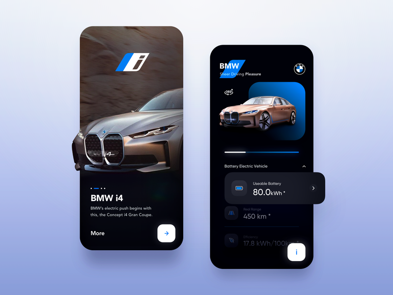 Car Sale Info App - User Interface fresh car app dark dark ui bmw modern clean ui ux automotive auto ios product sale